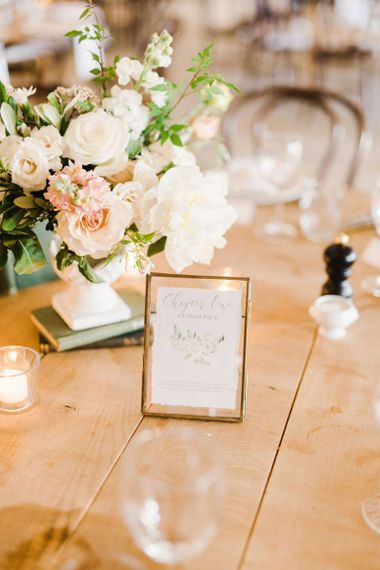 Wedding Table Settings with Beautiful Wedding Stationery and Flowers