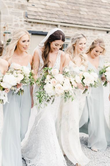 Bridal Party with Wedding Flowers and
