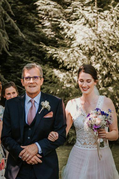 Wedding Ceremony Bridal Entrance  in Pronovias Danaia Wedding Dress