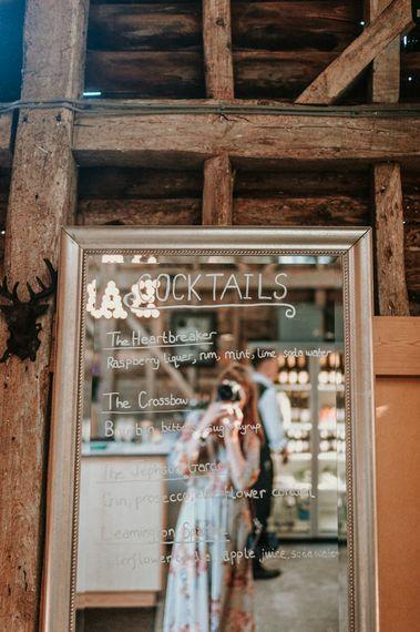 Gold Frame Mirror Cocktail Wedding Sign