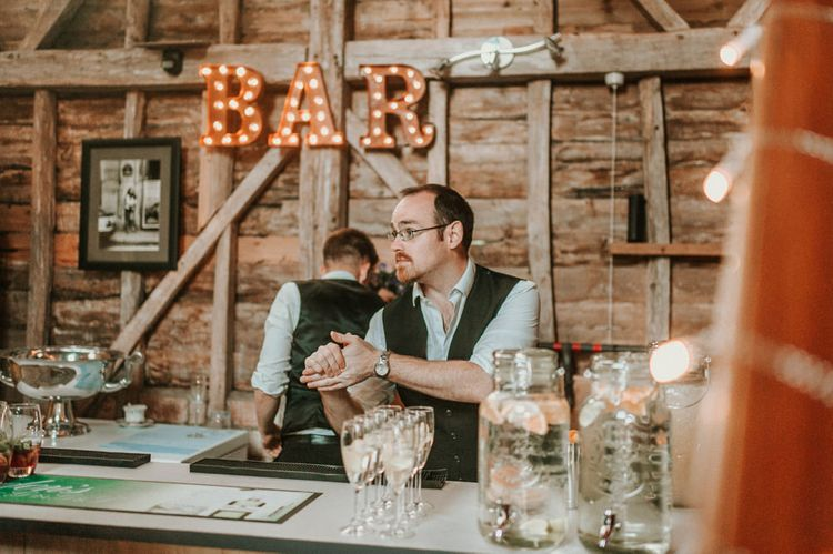Barn Bar with Marquee sign