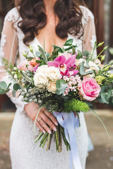 Pink & White Spring Bridal Bouquet | Spring, Boho, Festival Themed Wedding with Flower Crowns, Pastel Flowers & Street Food Vans at  Painshill Park, Surrey | Kirsty Mackenzie Photography | Alice Underwood Films