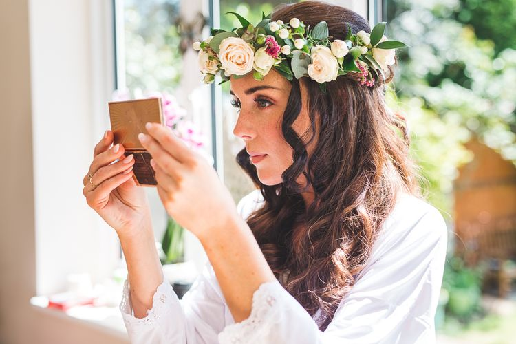 Bridal Beauty | Flower Crown | Spring, Boho, Festival Themed Wedding with Flower Crowns, Pastel Flowers & Street Food Vans at  Painshill Park, Surrey | Kirsty Mackenzie Photography | Alice Underwood Films