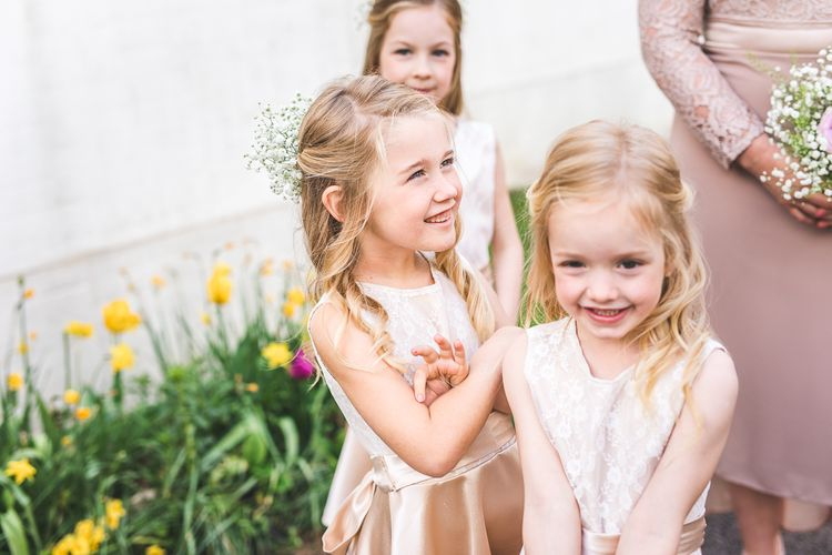 Flower Girls | Spring, Boho, Festival Themed Wedding with Flower Crowns, Pastel Flowers & Street Food Vans at  Painshill Park, Surrey | Kirsty Mackenzie Photography | Alice Underwood Films