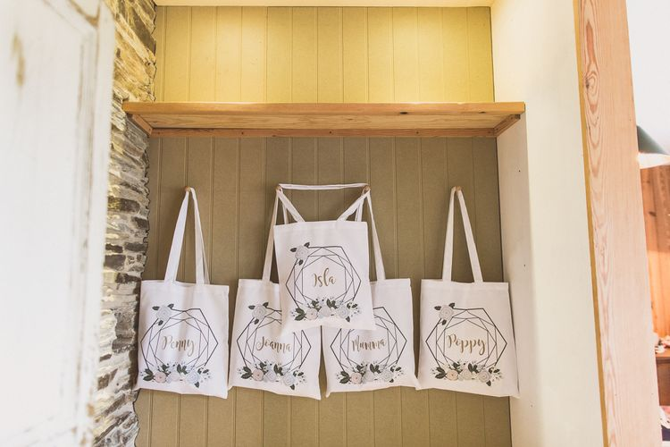 Personalised Tote Bags For Bridesmaids // Rustic Luxe Winter Wedding At Fforest Wales With Bride In Maggie Sottero  And Wellies With Images And Film From WE ARE // THE CLARKES