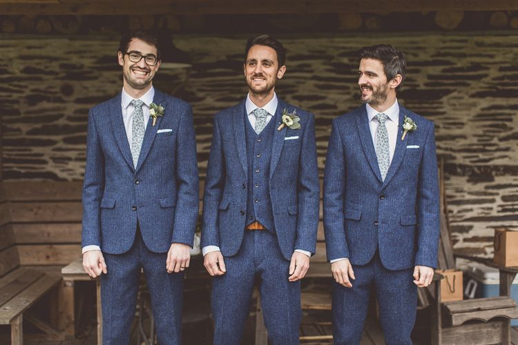 Blue Three Piece Suit For Winter Wedding // Rustic Luxe Winter Wedding At Fforest Wales With Bride In Maggie Sottero  And Wellies With Images And Film From WE ARE // THE CLARKES