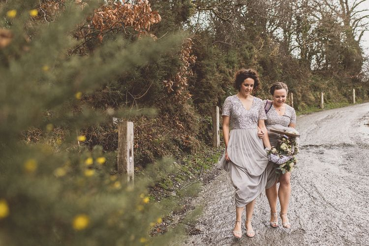 Bridesmaids In Silver Sequinned Top Dresses // Rustic Luxe Winter Wedding At Fforest Wales With Bride In Maggie Sottero  And Wellies With Images And Film From WE ARE // THE CLARKES