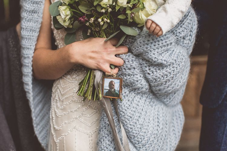 Photo Of Father On Wedding Bouquet In Memory // Rustic Luxe Winter Wedding At Fforest Wales With Bride In Maggie Sottero  And Wellies With Images And Film From WE ARE // THE CLARKES