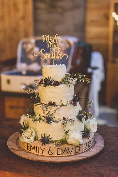 Winter Wedding Cake // Rustic Luxe Winter Wedding At Fforest Wales With Bride In Maggie Sottero  And Wellies With Images And Film From WE ARE // THE CLARKES