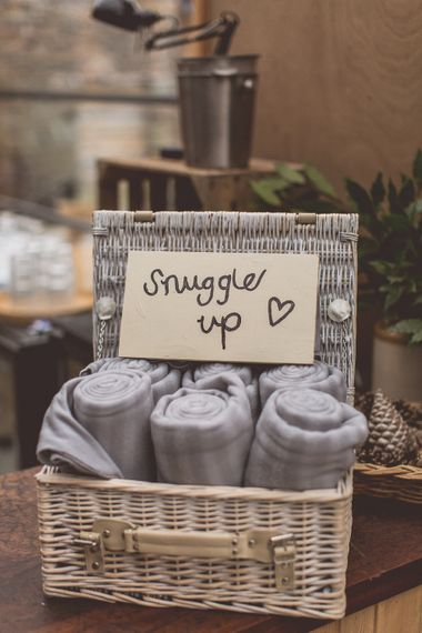 Blankets For Wedding Guests // Rustic Luxe Winter Wedding At Fforest Wales With Bride In Maggie Sottero  And Wellies With Images And Film From WE ARE // THE CLARKES