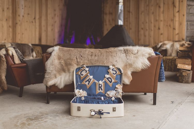 Vintage Suitcase For Wedding Cards // Rustic Luxe Winter Wedding At Fforest Wales With Bride In Maggie Sottero  And Wellies With Images And Film From WE ARE // THE CLARKES