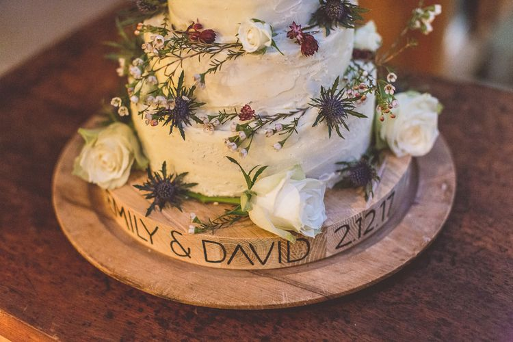 Winter Wedding Cake With Buttercream Icing & Thistles // Rustic Luxe Winter Wedding At Fforest Wales With Bride In Maggie Sottero  And Wellies With Images And Film From WE ARE // THE CLARKES