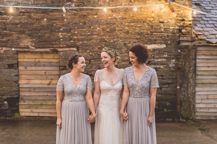Bridesmaids In Silver Sequin Dresses // Rustic Luxe Winter Wedding At Fforest Wales With Bride In Maggie Sottero  And Wellies With Images And Film From WE ARE // THE CLARKES
