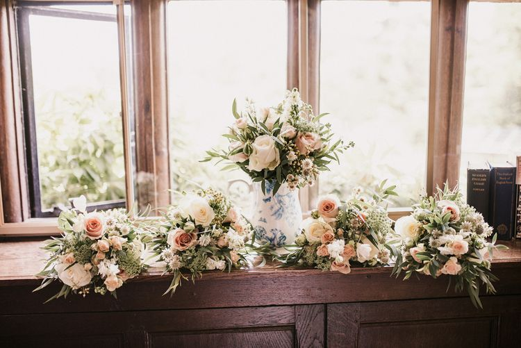 White, Pink and Foliage Wedding Bouquets