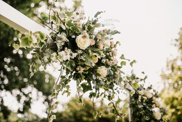 Romantic White, Pink and Foliage Wedding Flowers