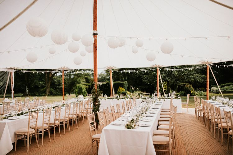 Tent Wedding Reception with White Hanging Paper Lanterns Decor