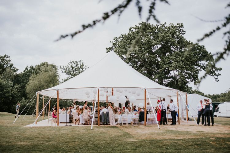 Tent Wedding Reception with Hanging Paper Lanterns Decor