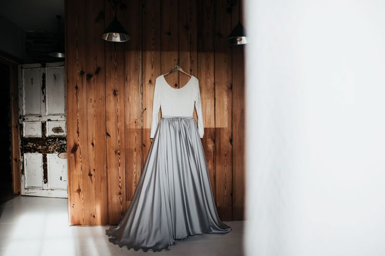 Mila Mira Wedding Dress with Silver Skirt and White Top