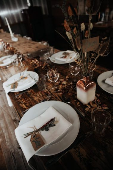 Fall Wedding Reception Decor with Dried Leaves and Flowers