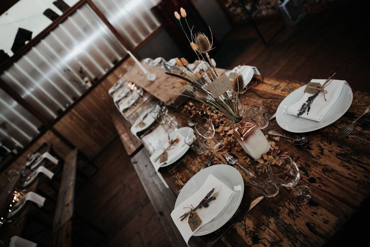 Wooden Table with Autumn Wedding Decor