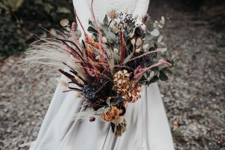 Dried Flower Wedding Bouquet with Hydrangeas. Dried Grasses  and Eucalyptus