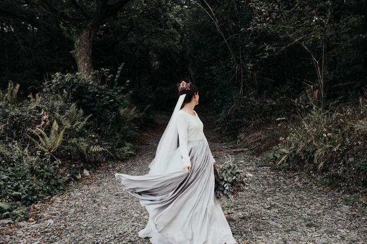 Boho Bride in Contemporary Mila Mira Wedding Dress with Silver Skirt and White Top