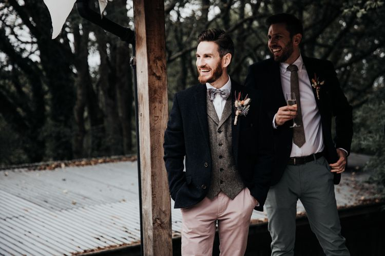 Stylish Groom in Pink Chinos, Wool Waistcoat and Navy Blazer