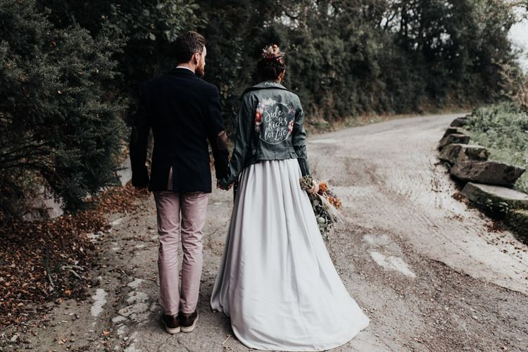 Stylish Bride and Groom with Bride in Customised Leather Jacket