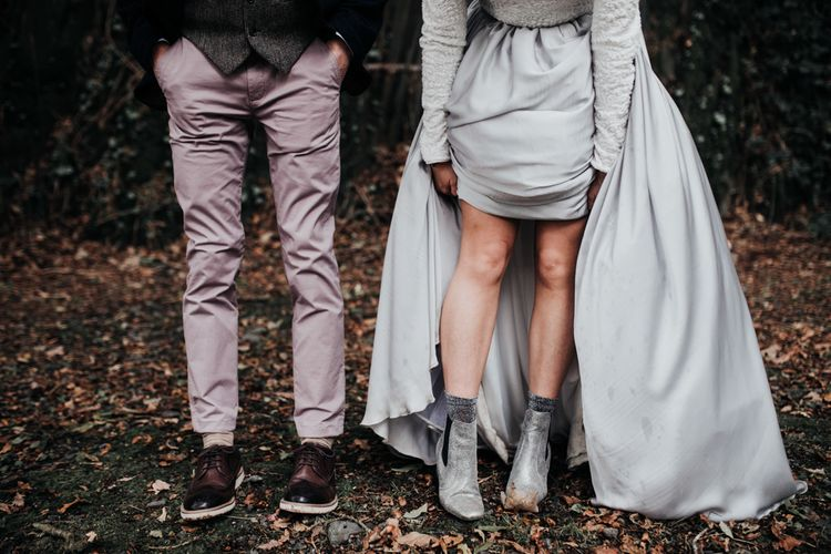 Stylish Bride in Silver Boots and Groom in Pink Chinos