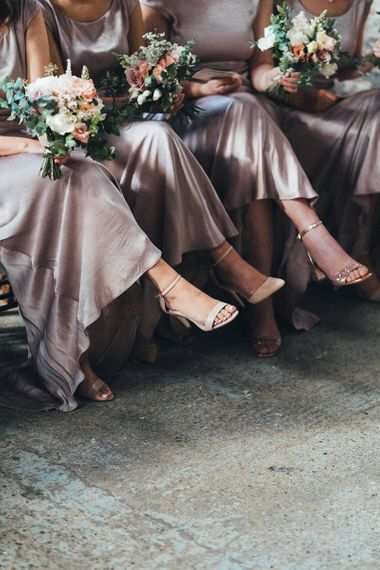Dusky Pink Bridesmaid Dresses and Strappy Shoes