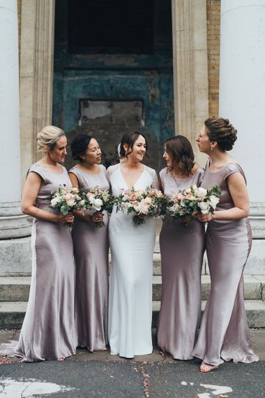 Bridal Party Portrait  with Bridesmaids in Dusky Pink Bridesmaid Dresses