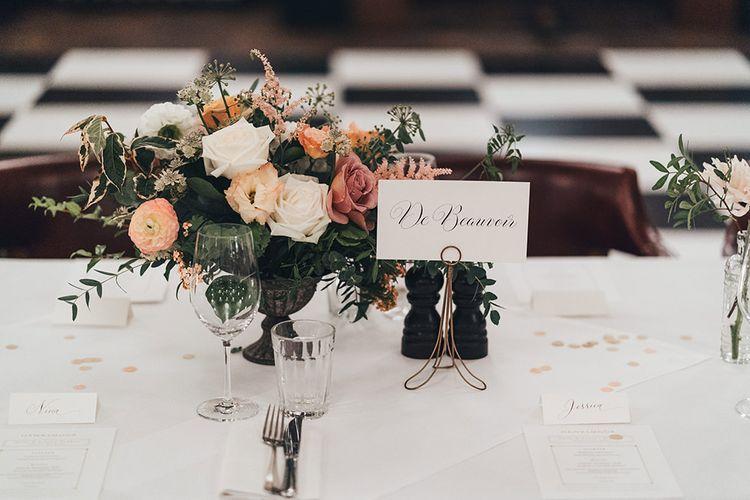 Dusky Pink Wedding Flowers on Tables