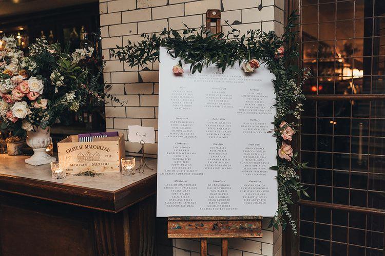 Wedding Table Plan at Reception
