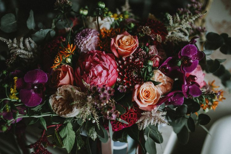 Bright Pink Wedding Bouquet Flowers with Orchids, Roses and Dahlias
