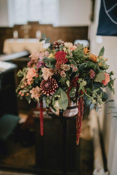 Deep Red and Green Wedding Flower Arrangement