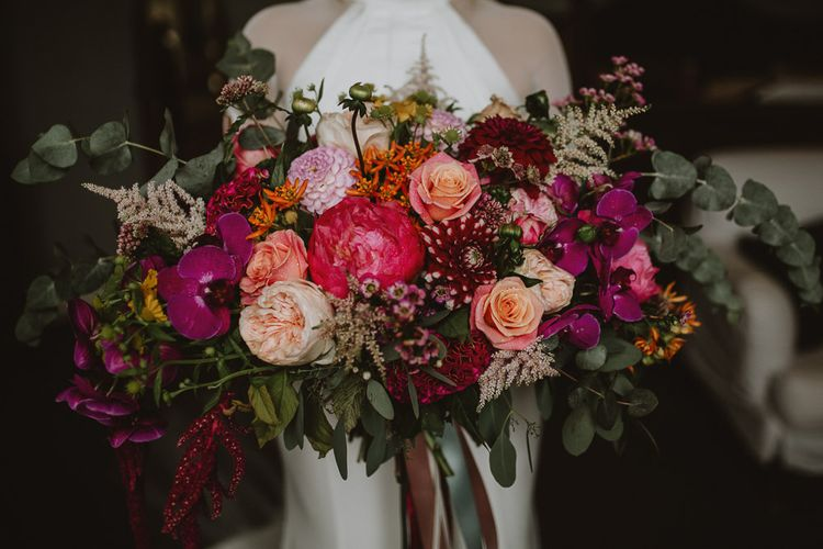 Oversized Pink Wedding Bouquet with Roses, Orchids and Dahlias