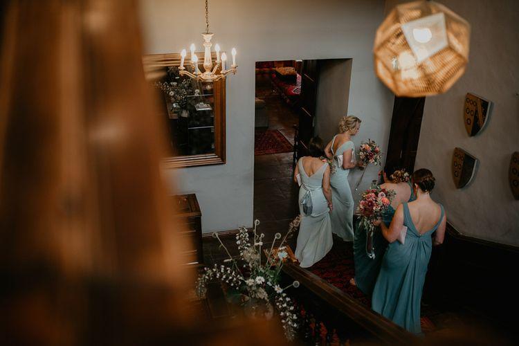 Bridesmaids in Jade Green Dresses Getting Ready