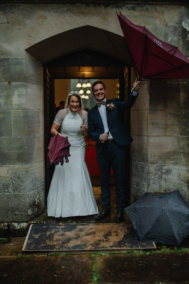 Bride and Groom Exiting the Church as Husband and Wife