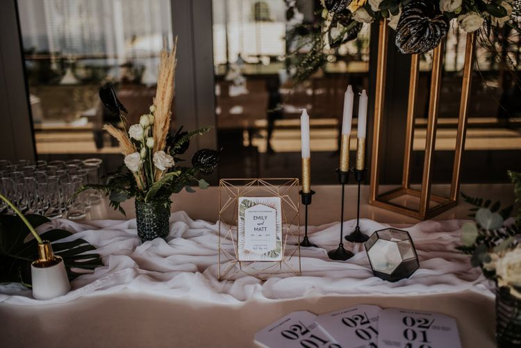 Wedding welcome table with candles