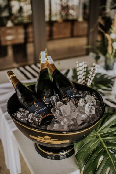 Champagne on ice for guests arrival at Thailand wedding