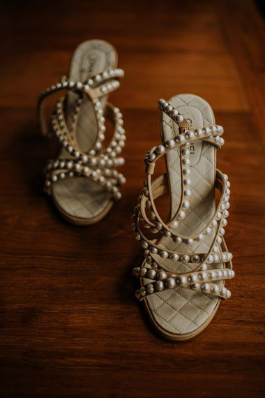 Chanel wedding shoes with pearl detail for bride at Thailand wedding