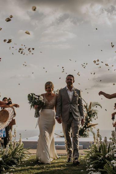 Confetti exit at intimate Thailand wedding