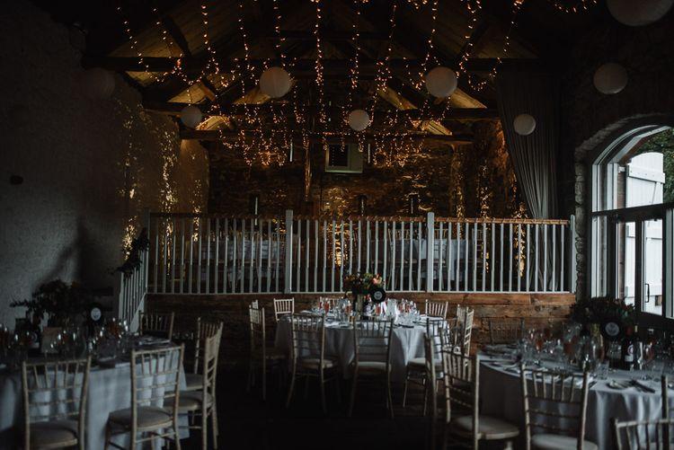 Askham Hall Wedding Reception with Fairy Light Ceiling Decor