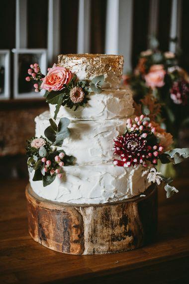 Homemade Wedding Cake on Tree Stump Cake Stand