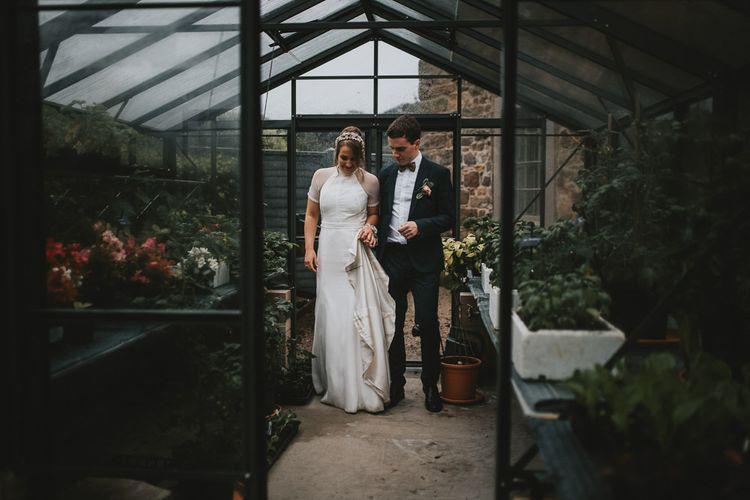 Bride and Groom Glasshouse Portrait at Askham Hall Wedding