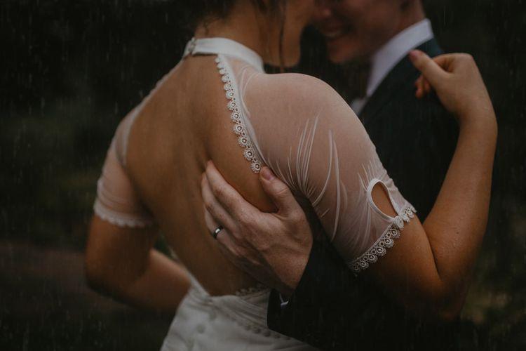 Lace Edge Detail on Keyhole Back Wedding Dress