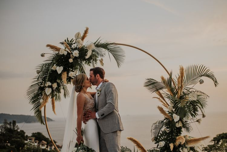 Moon gate with amazing views at intimate Thailand wedding