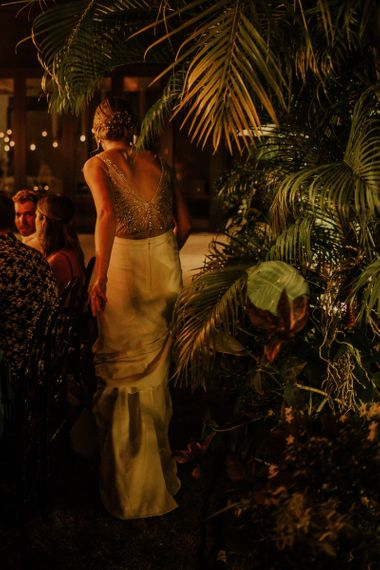 Bride in beaded bodysuit with skirt at Thailand wedding