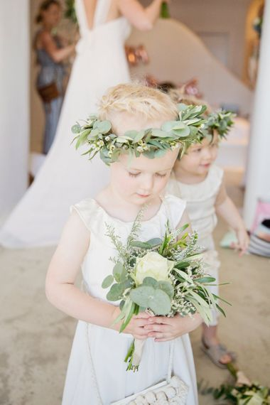 Flower Girls in White Dresses with Foliage Flower Crowns
