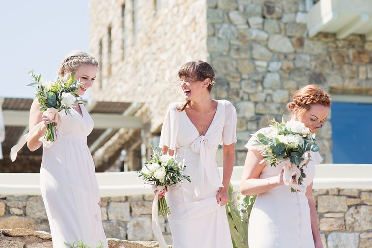 Beautiful Bridesmaids in Blush Pink Maids to Measure Dresses with Braided Hair